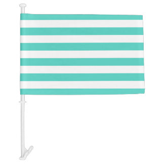 Teal Blue and White Stripe Pattern Car Flag