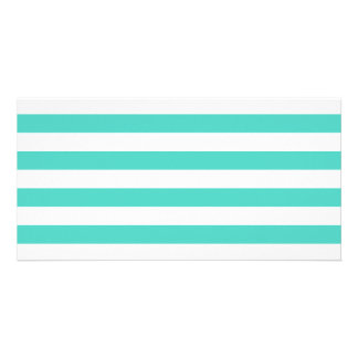 Teal Blue and White Stripe Pattern Card