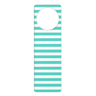 Teal Blue and White Stripe Pattern Door Hanger