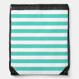 Teal Blue and White Stripe Pattern Drawstring Bag