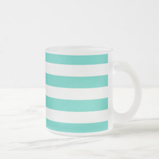 Teal Blue and White Stripe Pattern Frosted Glass Coffee Mug