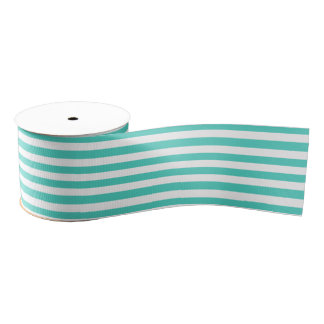 Teal Blue and White Stripe Pattern Grosgrain Ribbon
