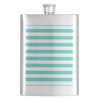 Teal Blue and White Stripe Pattern Hip Flask