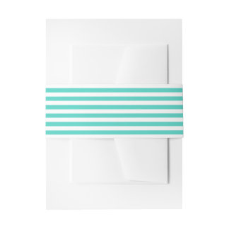 Teal Blue and White Stripe Pattern Invitation Belly Band