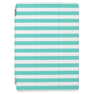 Teal Blue and White Stripe Pattern iPad Air Cover