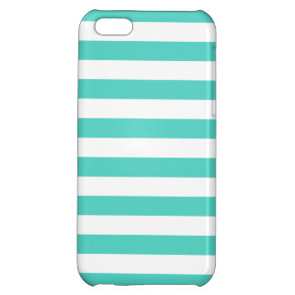 Teal Blue and White Stripe Pattern iPhone 5C Case