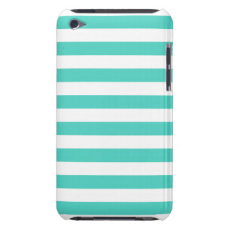 Teal Blue and White Stripe Pattern iPod Case-Mate Case
