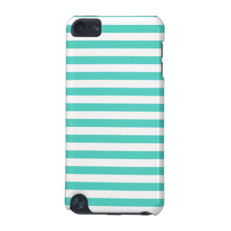 Teal Blue and White Stripe Pattern iPod Touch 5G Cases