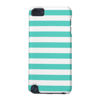 Teal Blue and White Stripe Pattern iPod Touch (5th Generation) Case