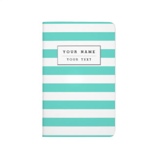 Teal Blue and White Stripe Pattern Journal