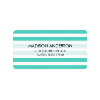 Teal Blue and White Stripe Pattern Label