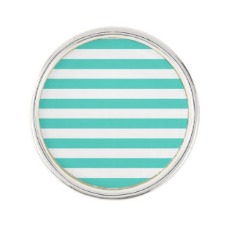 Teal Blue and White Stripe Pattern Lapel Pin