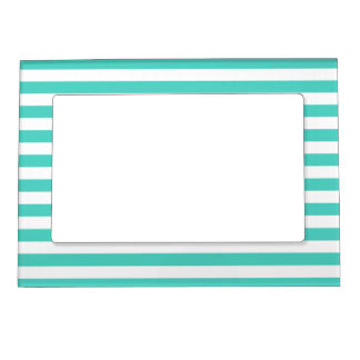 Teal Blue and White Stripe Pattern Magnetic Frame