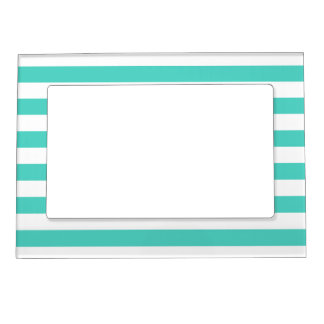Teal Blue and White Stripe Pattern Magnetic Picture Frame