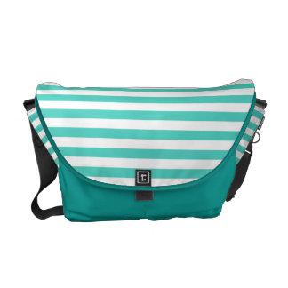 Teal Blue and White Stripe Pattern Messenger Bag