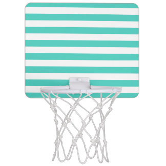 Teal Blue and White Stripe Pattern Mini Basketball Hoop