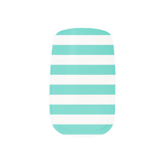 Teal Blue and White Stripe Pattern Minx Nail Art