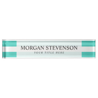 Teal Blue and White Stripe Pattern Nameplate
