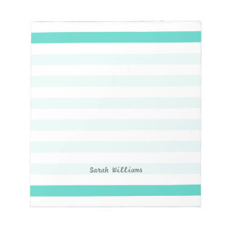Teal Blue and White Stripe Pattern Notepad