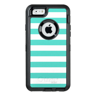 Teal Blue and White Stripe Pattern OtterBox Defender iPhone Case