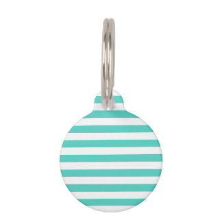 Teal Blue and White Stripe Pattern Pet ID Tag