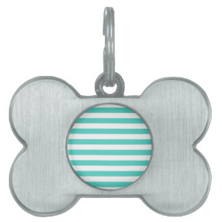 Teal Blue and White Stripe Pattern Pet Name Tag