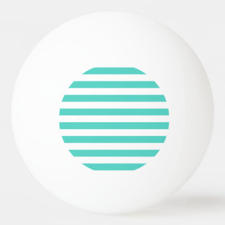 Teal Blue and White Stripe Pattern Ping Pong Ball