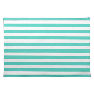 Teal Blue and White Stripe Pattern Placemat