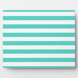 Teal Blue and White Stripe Pattern Plaque