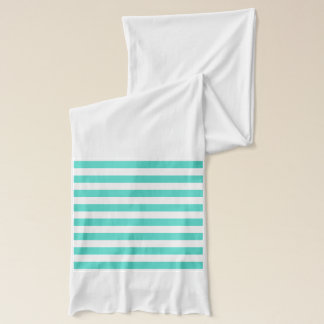 Teal Blue and White Stripe Pattern Scarf