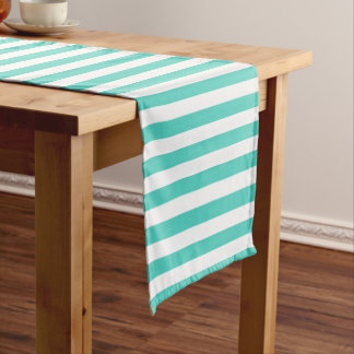 Teal Blue and White Stripe Pattern Short Table Runner