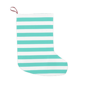 Teal Blue and White Stripe Pattern Small Christmas Stocking