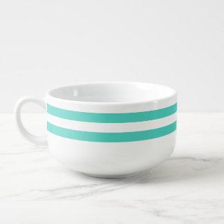 Teal Blue and White Stripe Pattern Soup Mug
