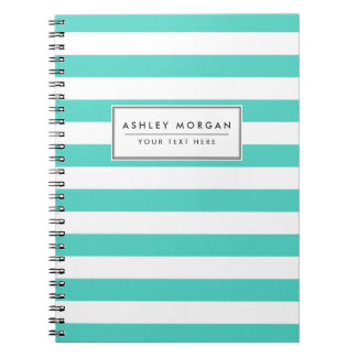 Teal Blue and White Stripe Pattern Spiral Note Books