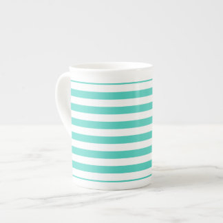Teal Blue and White Stripe Pattern Tea Cup