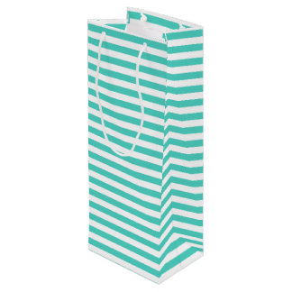 Teal Blue and White Stripe Pattern Wine Gift Bag