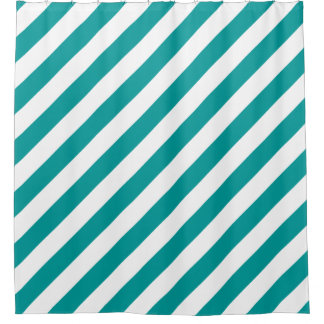 Teal Blue and White Striped Pattern Shower Curtain