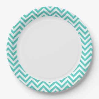 Teal Blue and White Zigzag Stripes Chevron Pattern 9 Inch Paper Plate