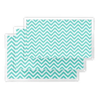 Teal Blue and White Zigzag Stripes Chevron Pattern Acrylic Tray