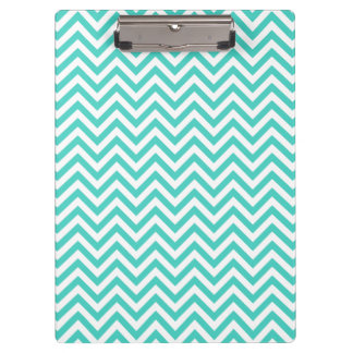 Teal Blue and White Zigzag Stripes Chevron Pattern Clipboard