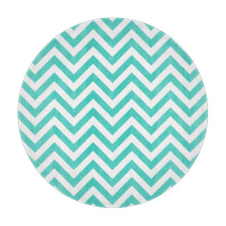 Teal Blue and White Zigzag Stripes Chevron Pattern Cutting Board