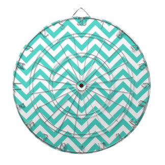 Teal Blue and White Zigzag Stripes Chevron Pattern Dart Board