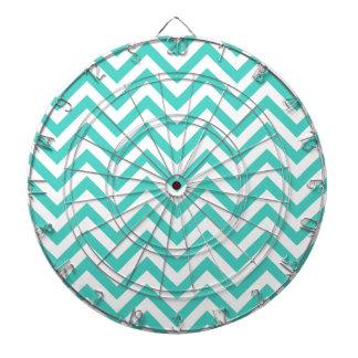 Teal Blue and White Zigzag Stripes Chevron Pattern Dartboard