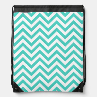 Teal Blue and White Zigzag Stripes Chevron Pattern Drawstring Bag