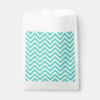 Teal Blue and White Zigzag Stripes Chevron Pattern Favour Bag