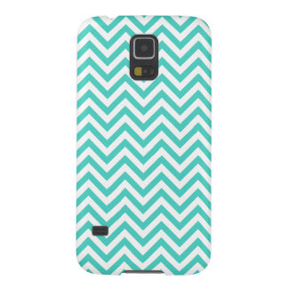Teal Blue and White Zigzag Stripes Chevron Pattern Galaxy S5 Cases