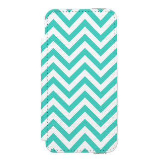 Teal Blue and White Zigzag Stripes Chevron Pattern Incipio Watson™ iPhone 5 Wallet Case