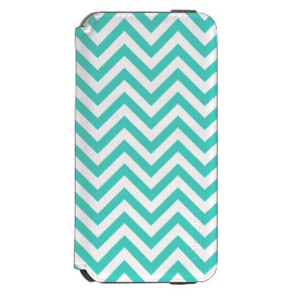 Teal Blue and White Zigzag Stripes Chevron Pattern Incipio Watson™ iPhone 6 Wallet Case