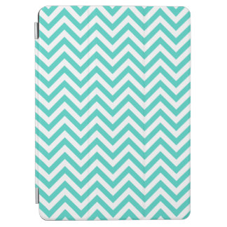 Teal Blue and White Zigzag Stripes Chevron Pattern iPad Air Cover