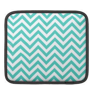 Teal Blue and White Zigzag Stripes Chevron Pattern iPad Sleeve